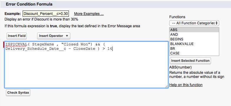 Delivery Date Formula Screenshot