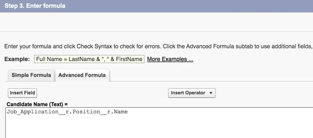 Advanced Formula tab showing Position Title formula.