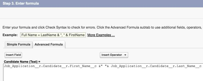 Advanced Formula tab showing the Candidate Name formula.