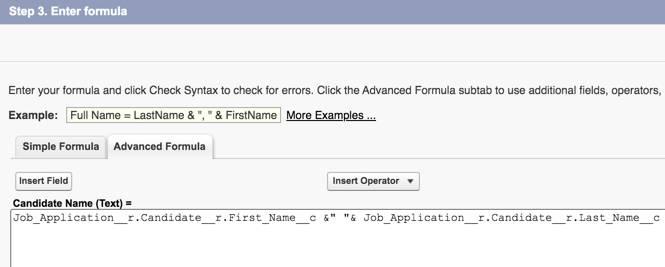 [Candidate Name (候補者名)] の数式が表示された [Advanced Formula (高度な数式)] タブ。
