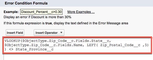 「Zip Code Consistent with State」(都道府県と一致する郵便番号) 入力規則の [Error Condition Formula (エラー条件数式)]。