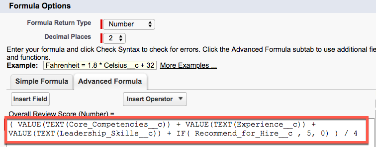 Advanced Formula tab showing Overall Review Score formula.