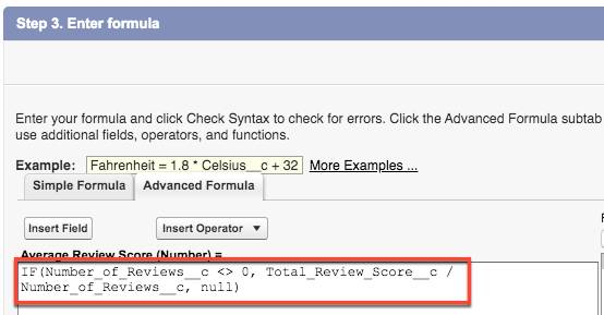 Advance formula tab show Average Review Score formula.