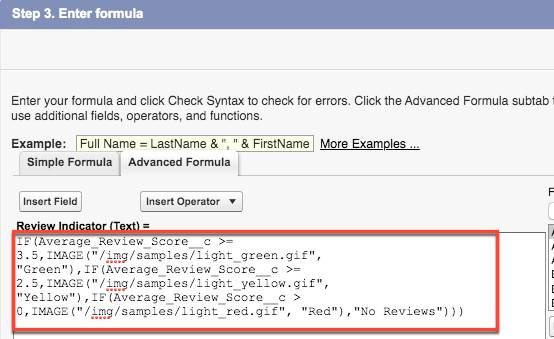 Advanced Formula tab showing Review Indicator formula.