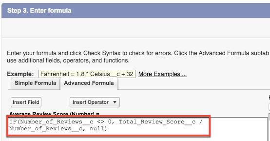 [Average Review Score (平均審査スコア)] の数式が表示された [Advanced Formula (高度な数式)] タブ。