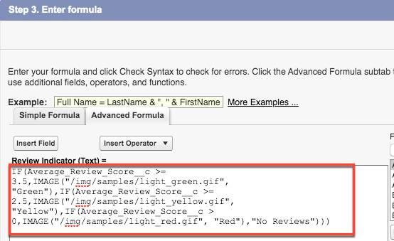 [Review Indicator (審査インジケータ)] の数式が表示された [Advanced Formula (高度な数式)] タブ。