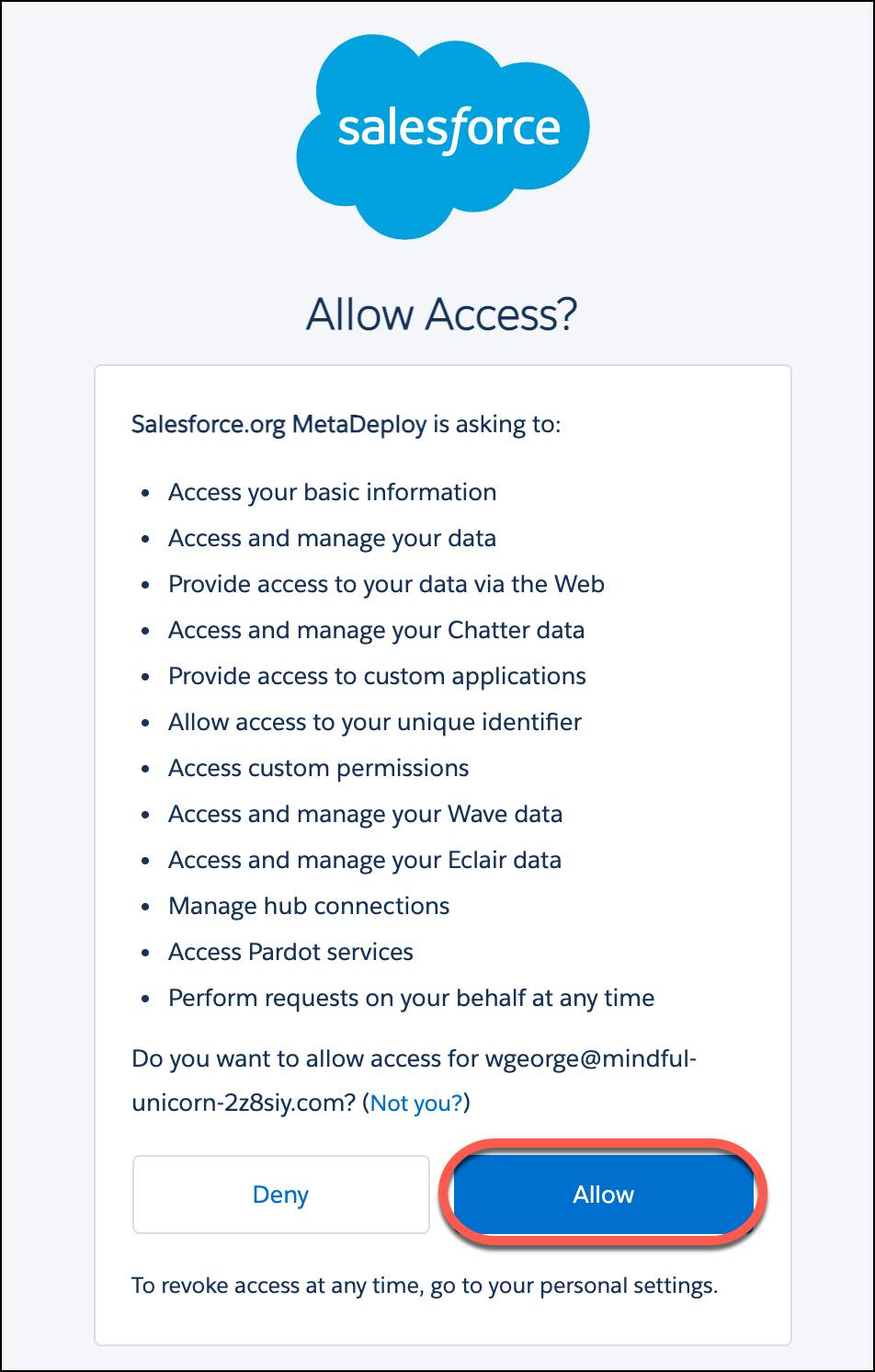 Allow Access page