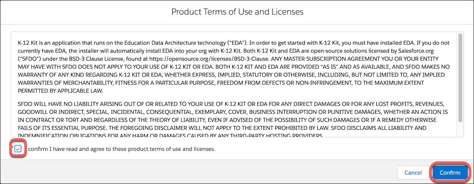 Product Terms of Use and Licenses agreement