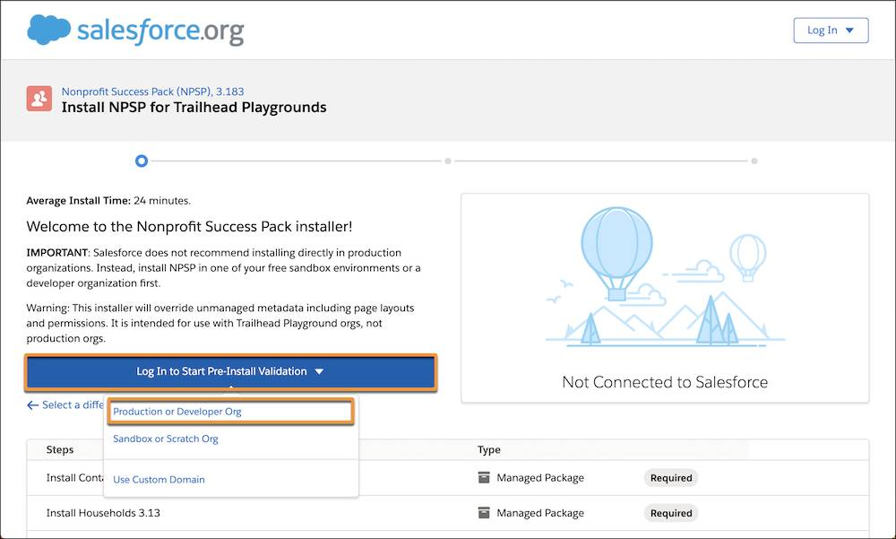 NPSP installer welcome page, highlighting selection of a Production or Developer Org
