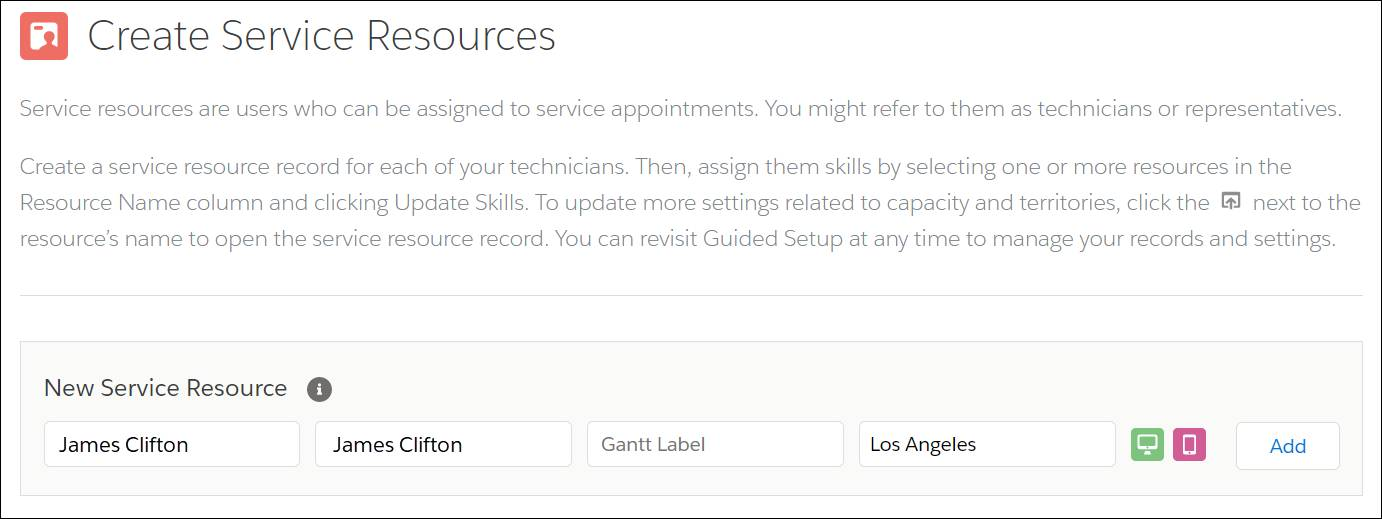 Create Service Resources with New Service Resource of James Clifton  in Los Angeles.