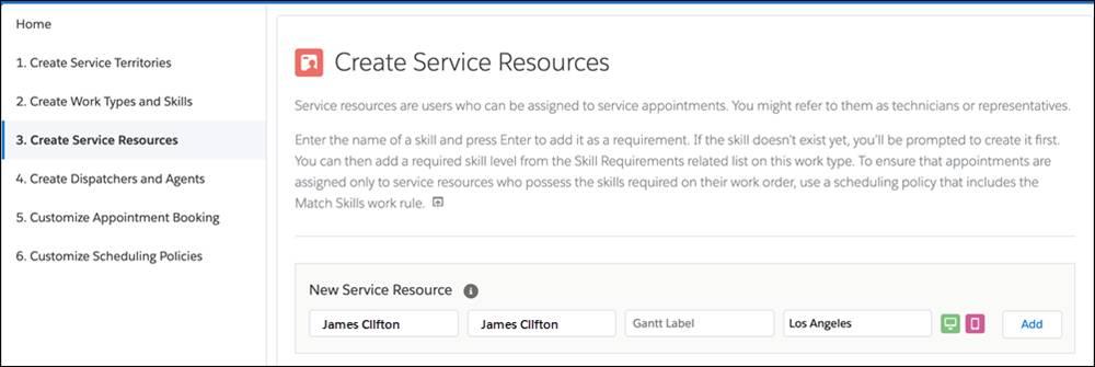 [New Service Resource (新規サービスリソース)] にロサンゼルス在住の James Clifton が示されている [Create Service Resources (サービスリソースの作成)]