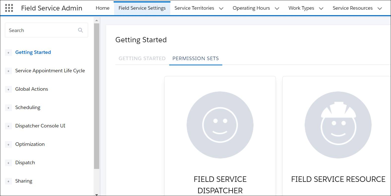 Permission Sets tab in the Field Service Settings app open to show Dispatcher, Resource, and Agent. Underneath each is a button labeled Create Permissions.