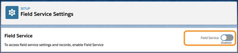 Field Service の切り替えが強調表示された [Field Service Settings (Field Service 設定)]