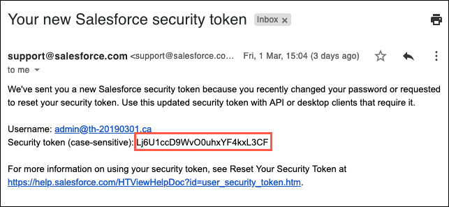 Screenshot of the new security token email with the security token highlighted