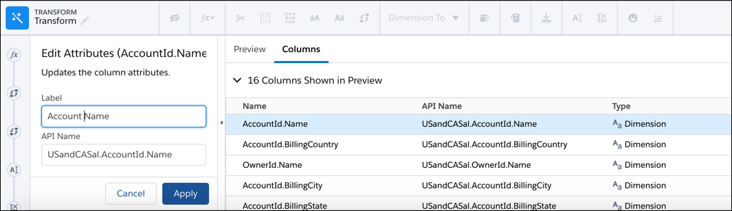 Change the column label in the left pane of the Edit Attributes transformation settings.
