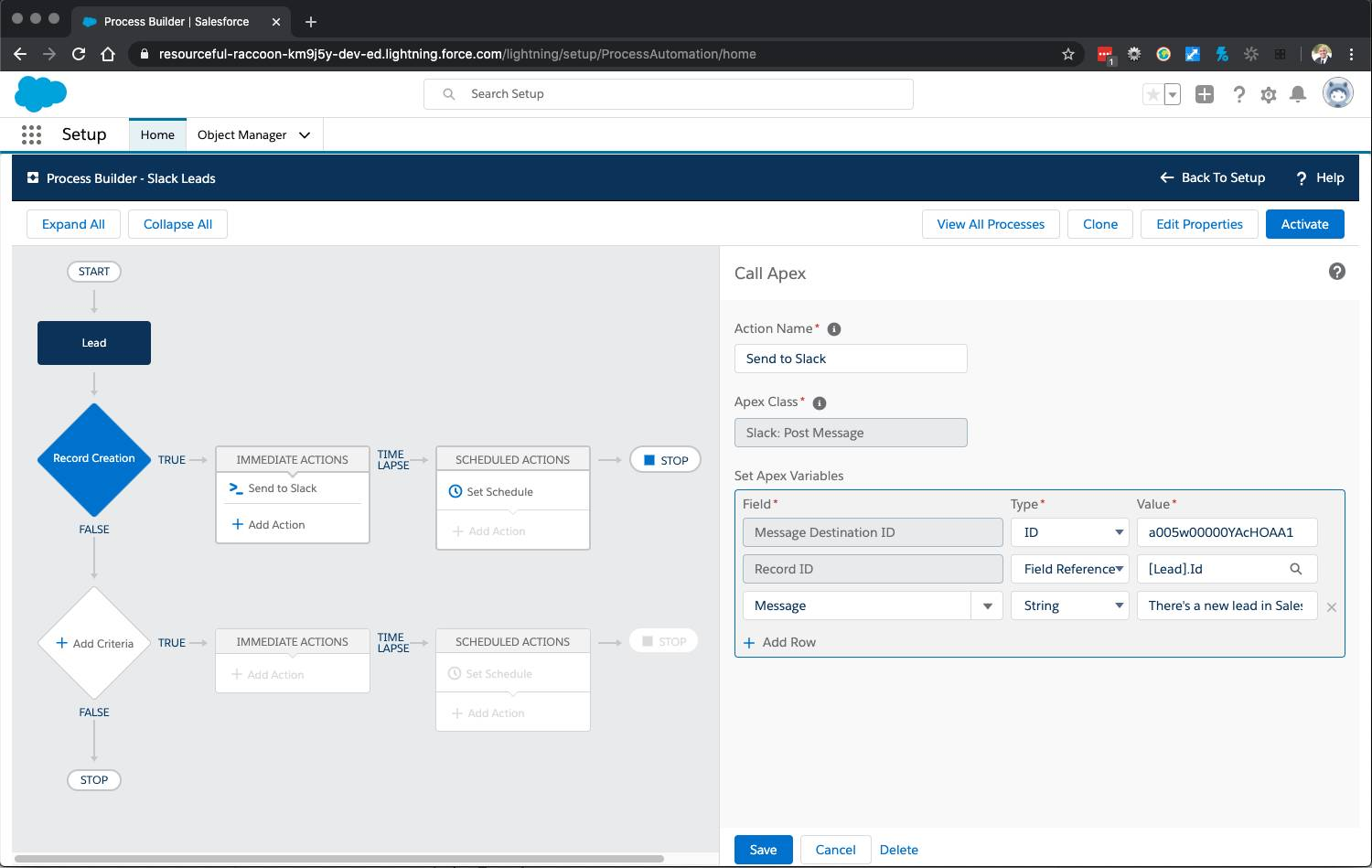 Process Builder with Call Apex action configuration open and Apex Variables populated