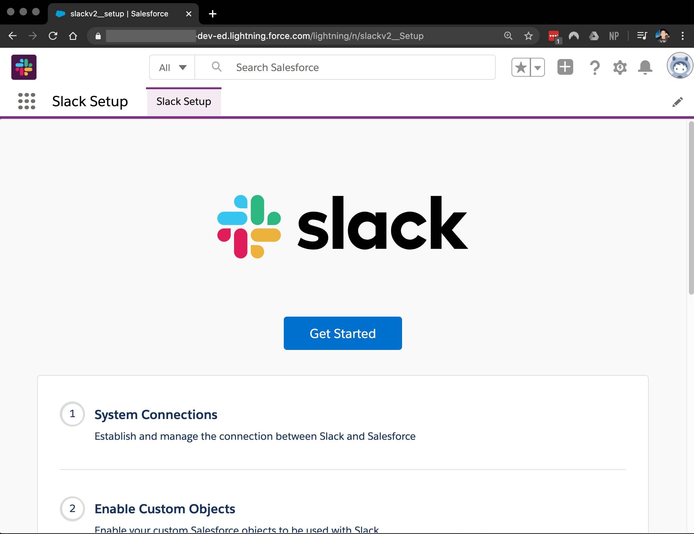 Slack Setup page in Salesforce