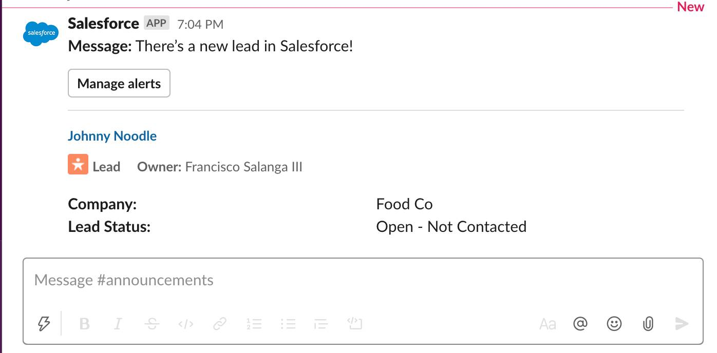Salesforce new lead post in Slack for Johhny Noodle
