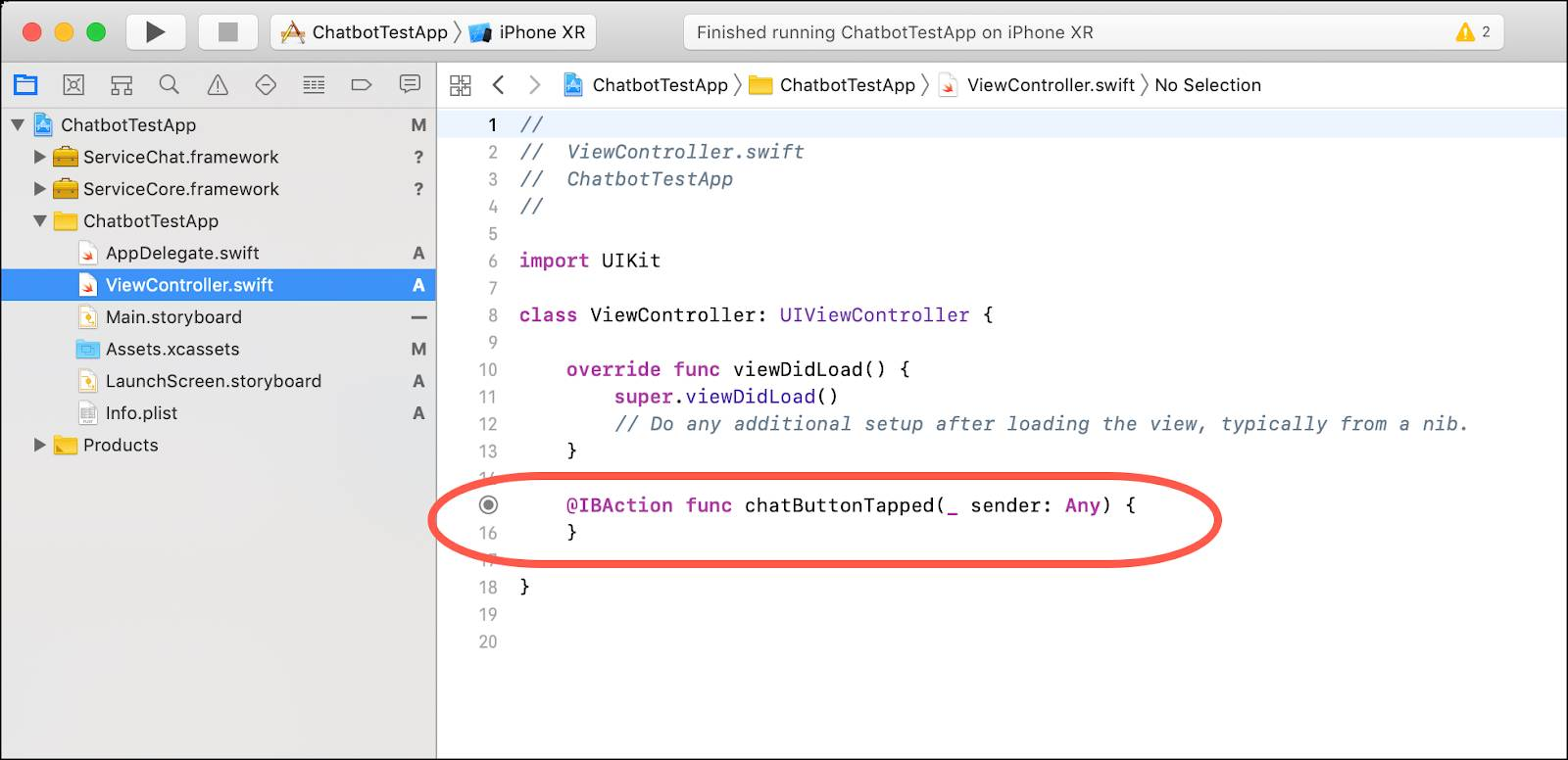 The ViewController.swift class selected and the @IBAction func method highlighted by a red rounded box.