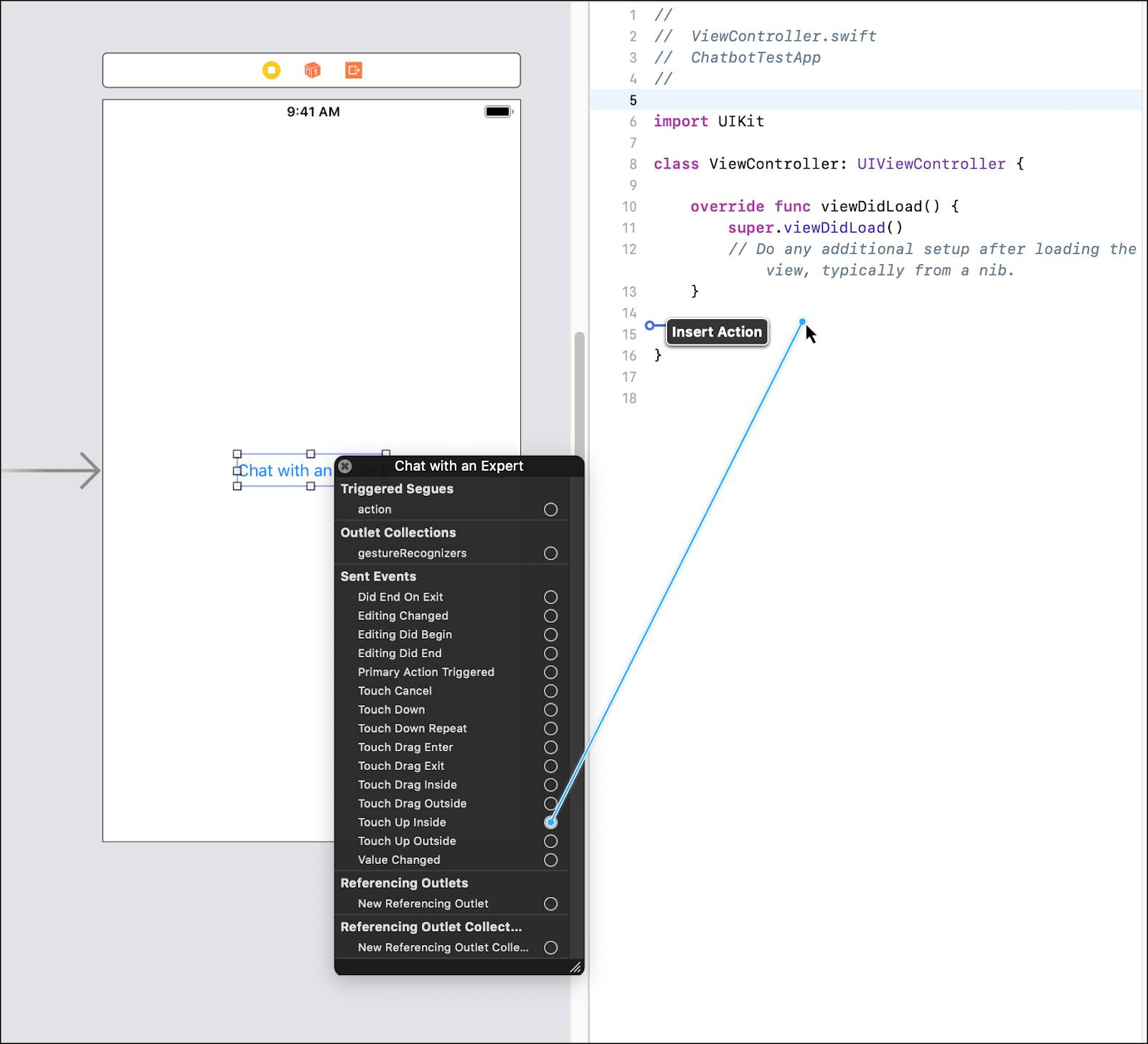 The Chat with an Expert button menu open and a drag path from Touch Up Inside to the ViewController class.