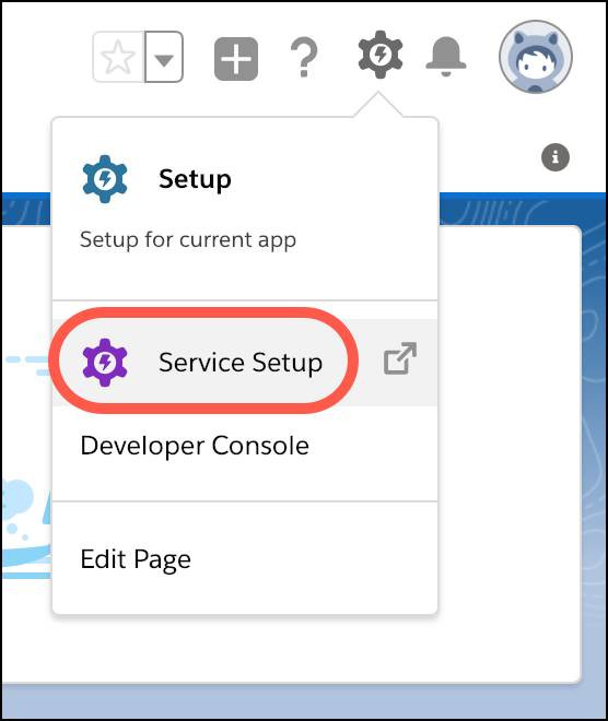 Service Setup highlighted with a red rounded box from the gear dropdown on the upper right of the Salesforce homepage.