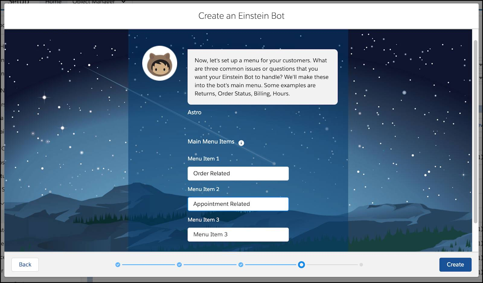 The Create an Einstein Bot setup screen with a message from Astro and configurable menu items.