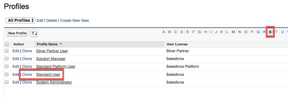 標準プロファイルが強調表示された [Profile (プロファイル)] リストのビュー