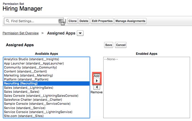 Hiring Manager (採用担当マネージャ) 権限セットの [Available Apps (選択可能なアプリケーション)] リスト