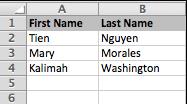 Imagem de uma planilha com nomes e sobrenomes.