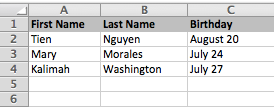 Image of a spreadsheet with first names, last names, and birthdays.