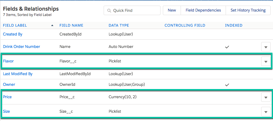 images of newly created custom fields