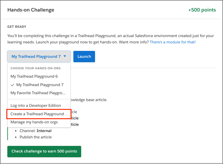 The Create a Trailhead Playground dropdown in a module's hands-on challenge.