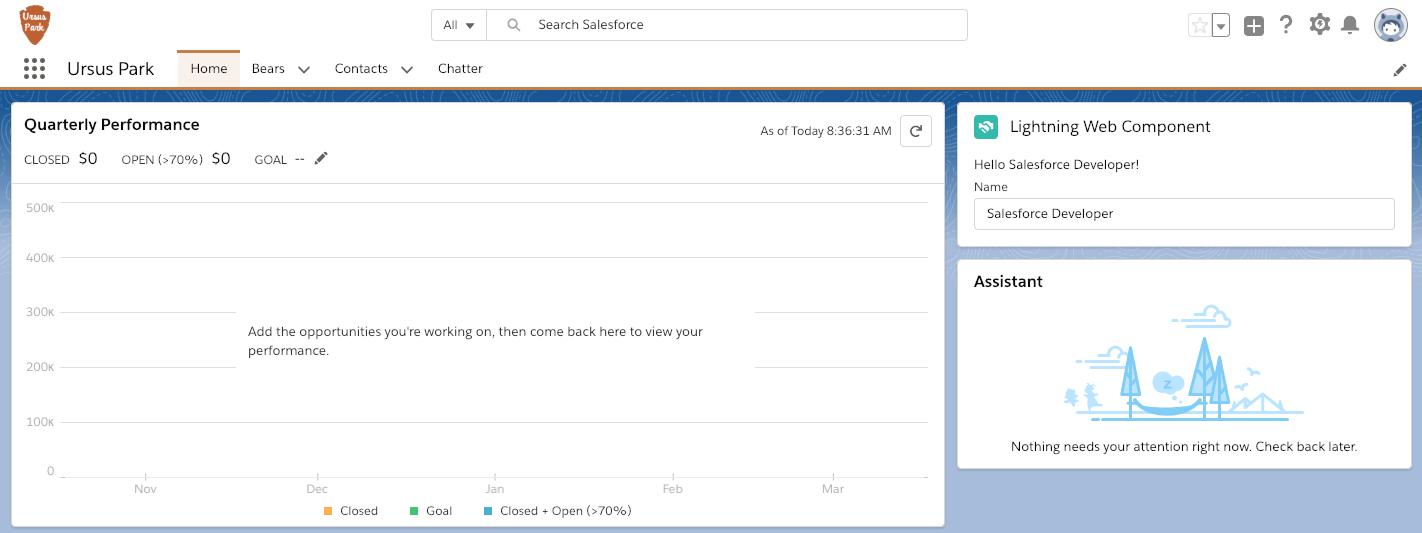 Ursus Park のホームページのデータバインドを使用した Lightning Web コンポーネント