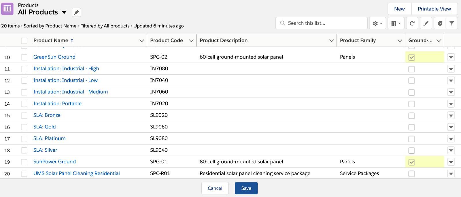 Product selection screenshot