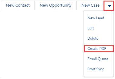 [Create PDF (PDF の作成)] が強調表示されたアクションメニュー