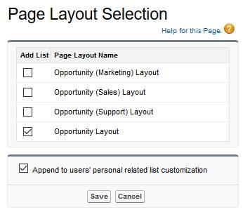 項目のチェックボックスがオンになっている [Page Layout Selection (ページレイアウトの選択)]