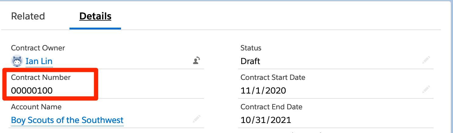 Contract screen with Contract Number highlighted.