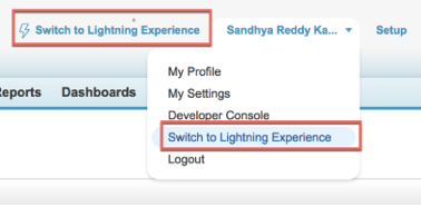 Switch to Lightning Experience