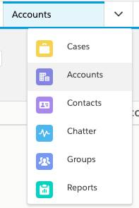 the Accounts tab selected in the tab dropdown.