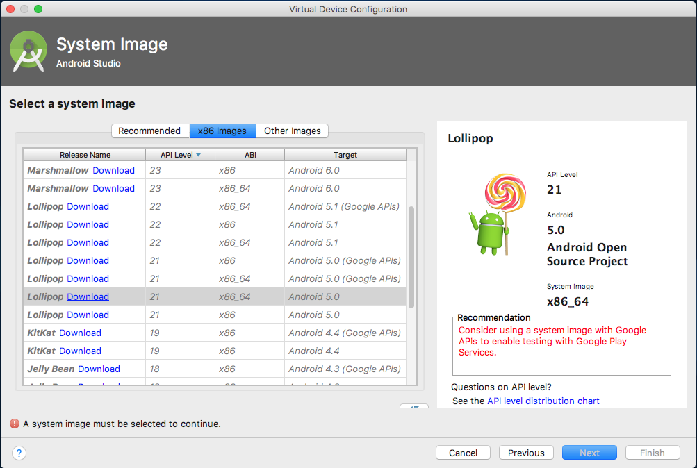 """Select a system image"" page showing an image that supports API level 19"