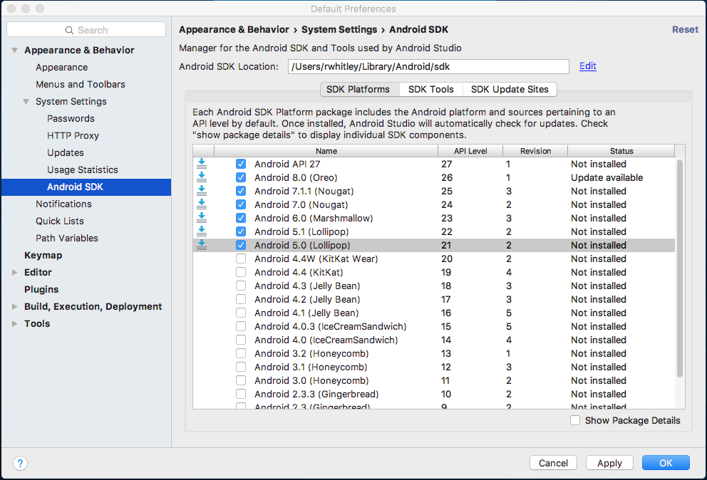 SDK Manager screen showing Android SDK levels 19 to 25 selected