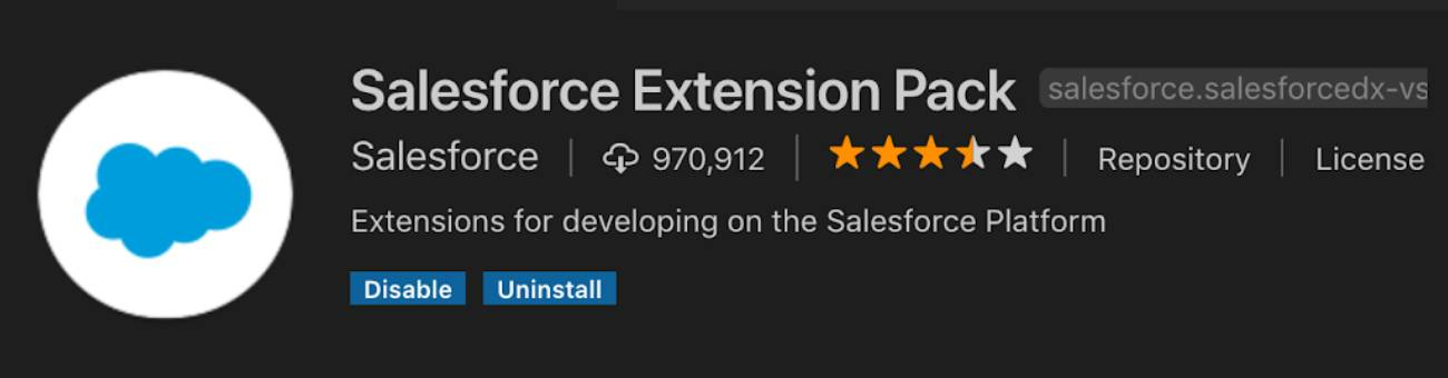 The Salesforce Extension Pack header information includes the number of downloads, star rating, and a short description: Extensions for developing on the Salesforce Platform.
