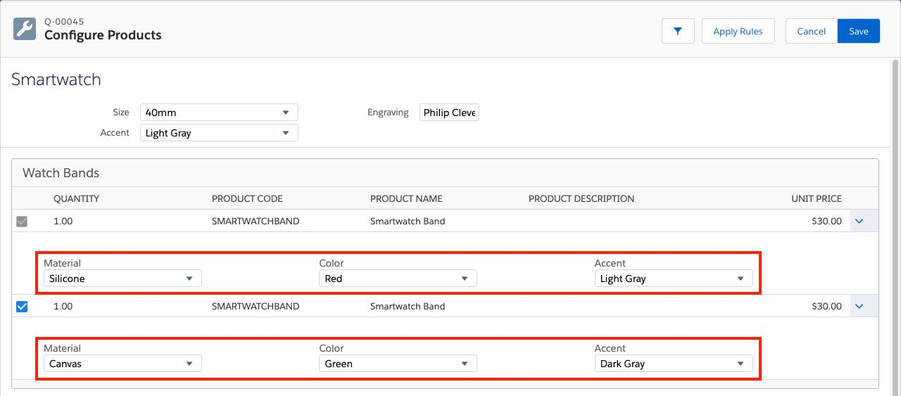 Product Configuration page with two watch bands with options showing attributes