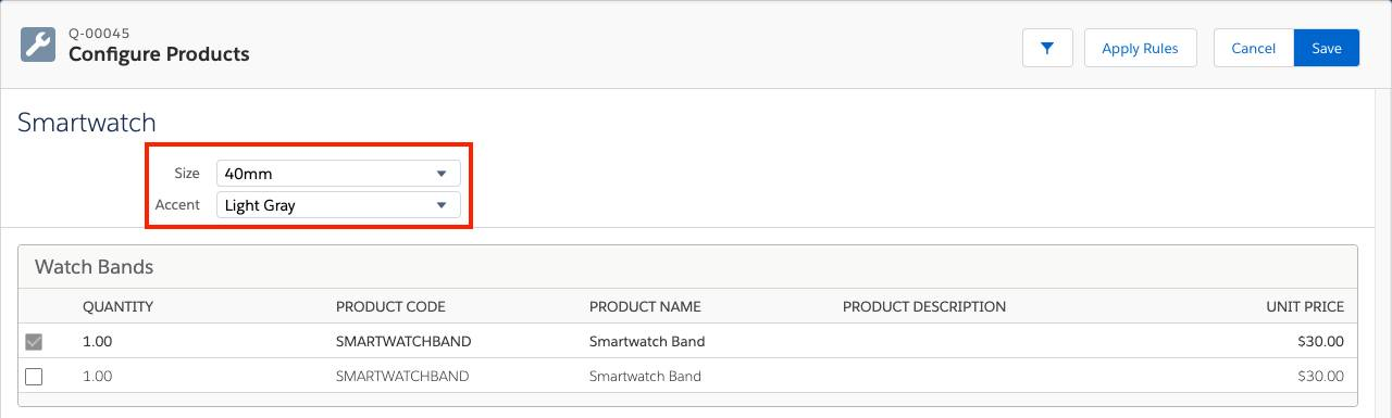 Product Configuration page for Smartwatch with two attributes