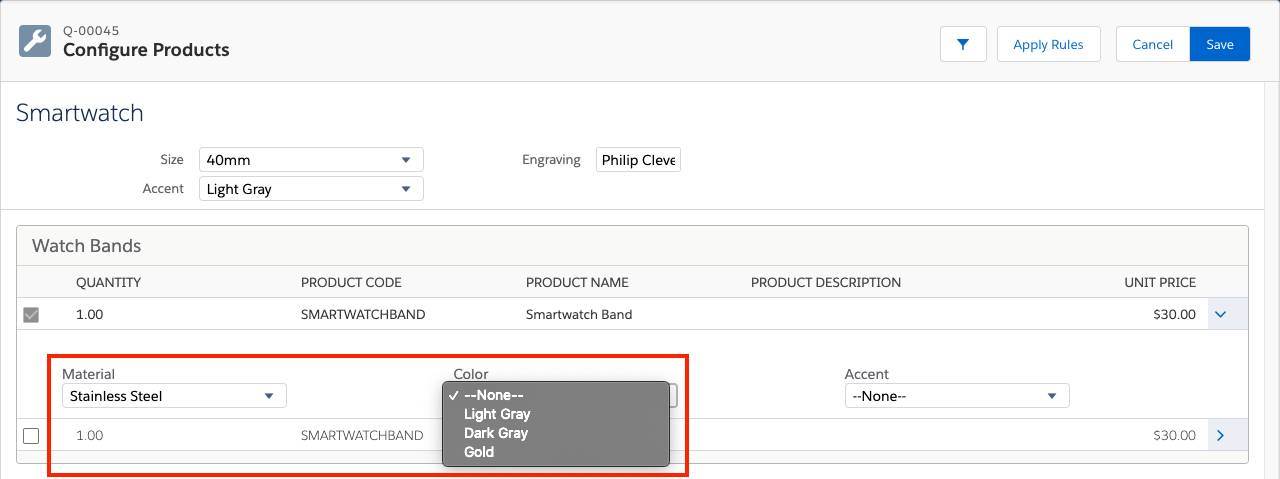 Product Configuration with global attributes showing limited Color choices