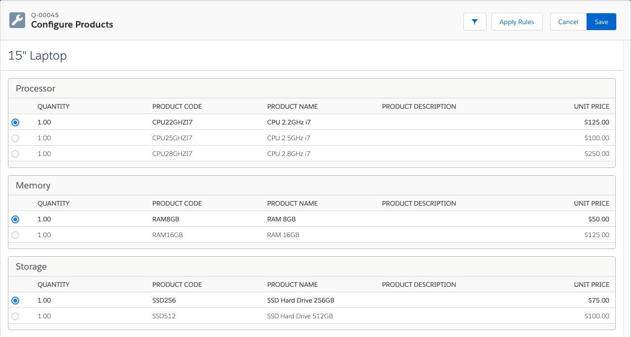 Product Configuration page for Laptop bundle