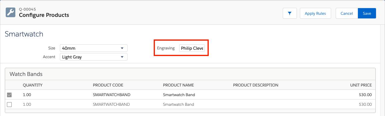 Product Configuration page for Smartwatch with Engraving field populated
