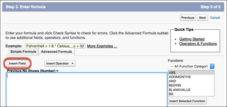 Enter formula for number field