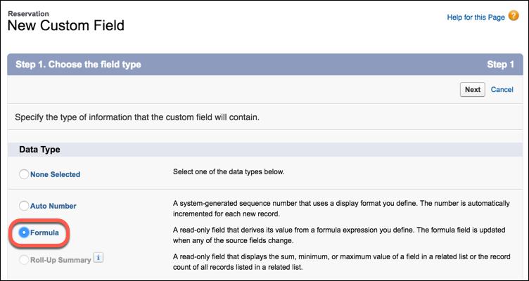 Select Formula data type