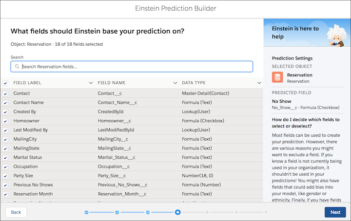 Select fields to base prediction on